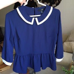 Navy Sailor 3/4 Sleeve Blouse